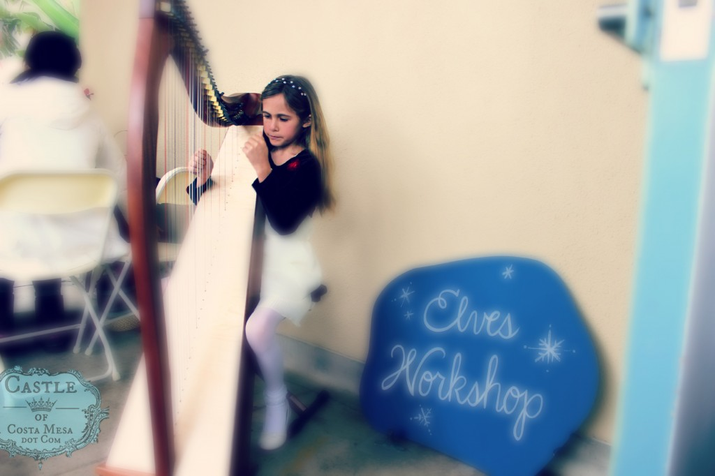 131207 Alyssa playing harp for Elves Workshop at Winter Festival