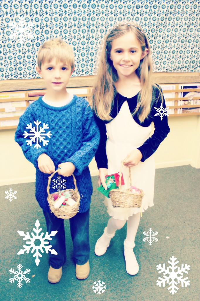 131207 Brother and sister with basket of handmade goodies from elves' workshop