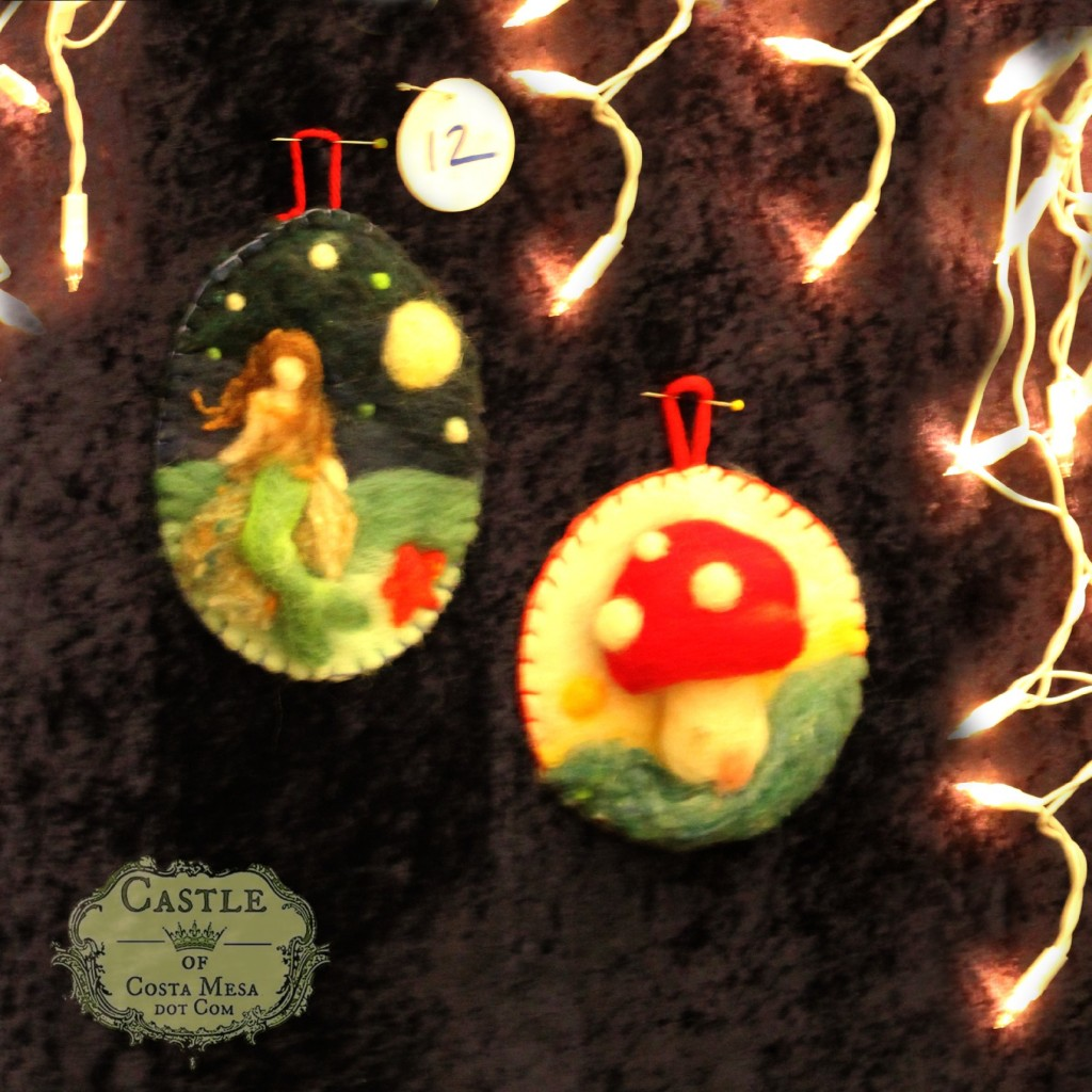 131207 Needle-felted picture Christmas tree ornaments of mermaid on a rock and fluffy toadstool home