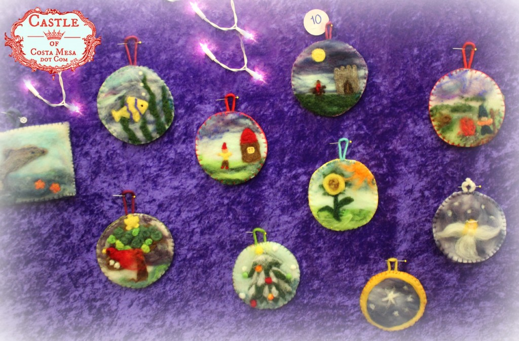 131208 10 tokens each for needle-felted picture Christmas tree ornaments