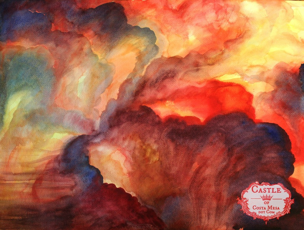 130315 Feb 2012 Entrails of the Polite One. acrylic on dry paper red clouds with logo