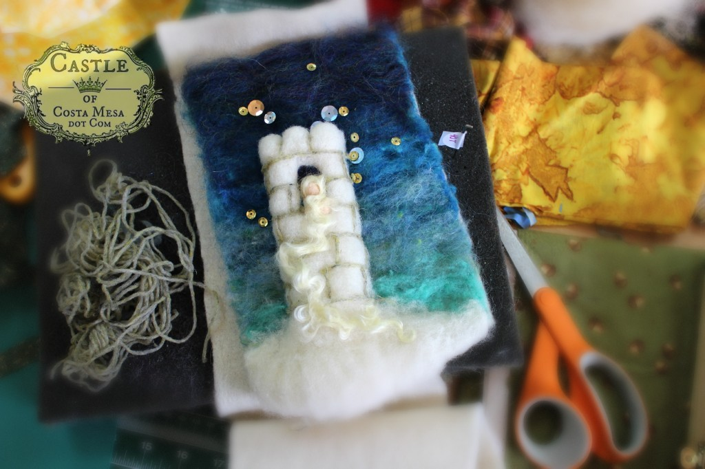 140107 Jzin's needle-felted wool picture of Rapunzel in snowy tower under sequinned starlight.