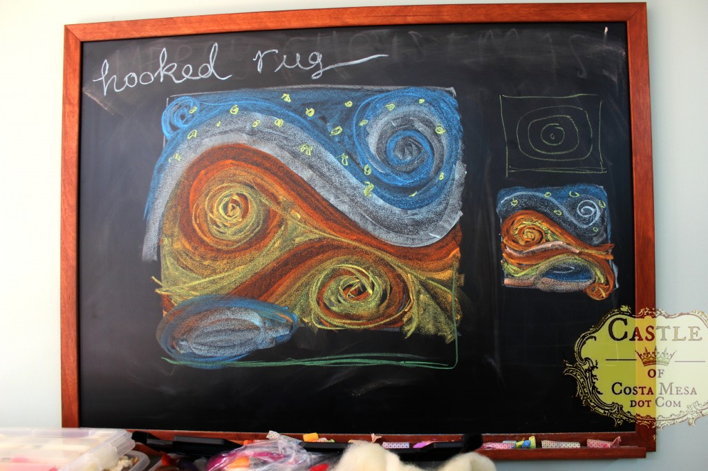 140107 Preliminary chalk board sketch for hooked rug design in colors