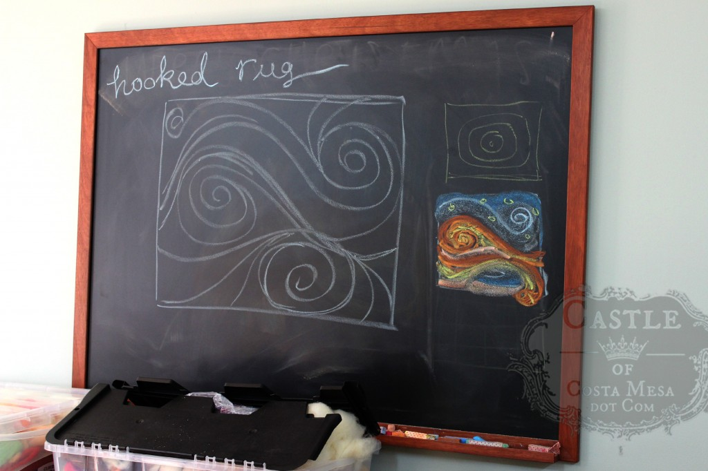 140107 Preliminary chalk board sketch for hooked rug design no color