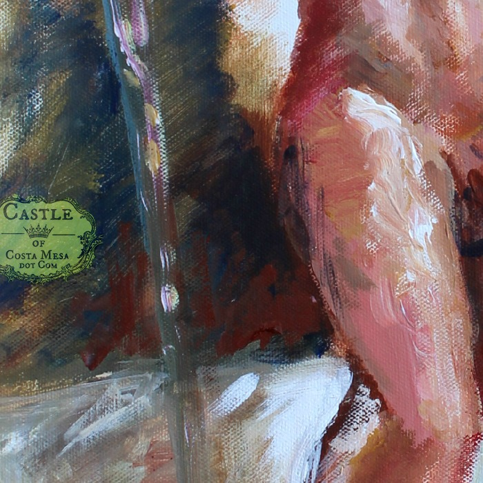 140123 Detail of spear and thigh. Len as the Sultan's Guard full portrait acrylic color sketch no logo