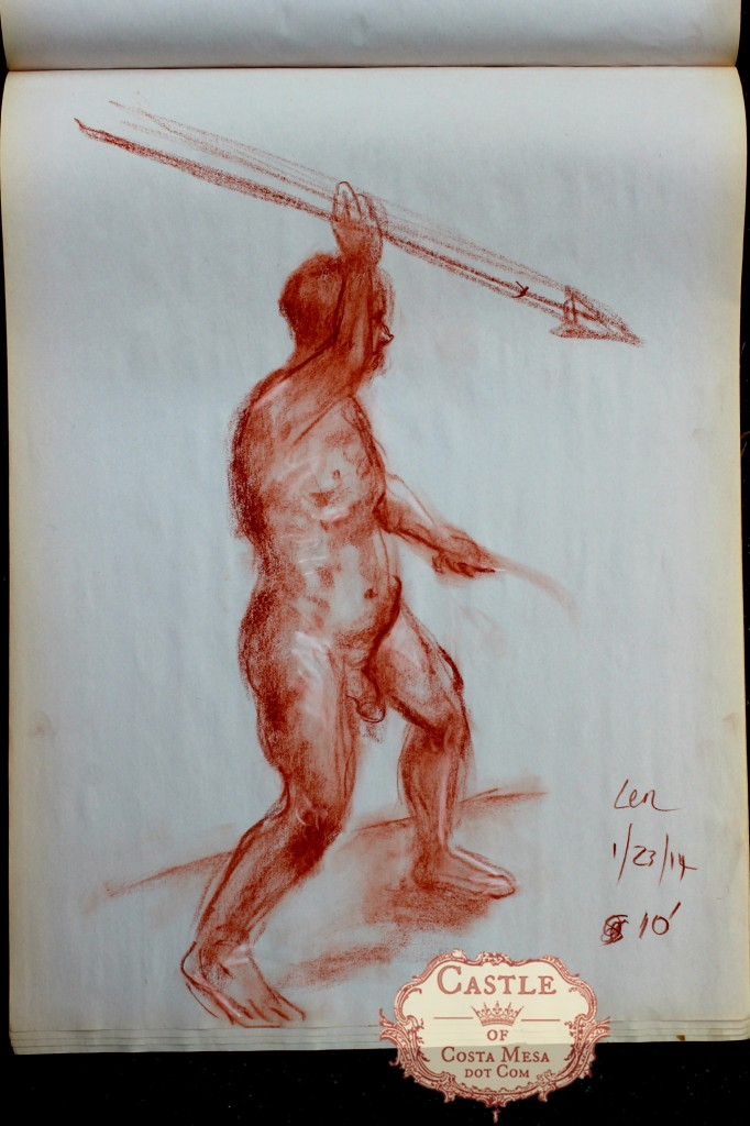 140123 Nude man with spear. Academic nude study