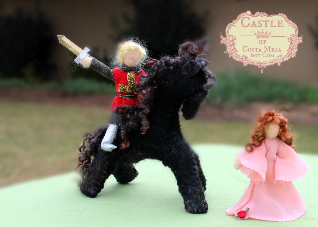 140210 The White Knight on Black steed chasing pink princess