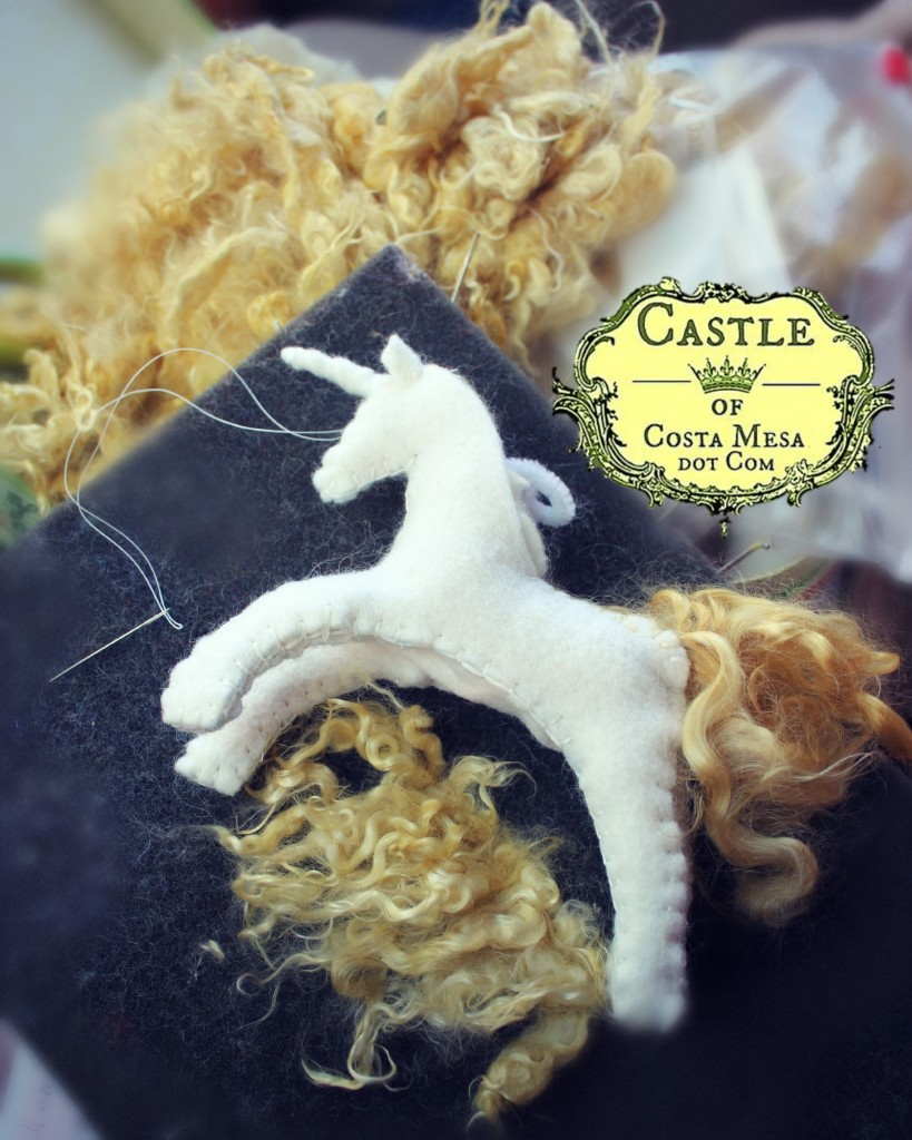 140223 Jzin's Handstitched White Felt Unicorn with golden kid mohair mane being made at Mason Park