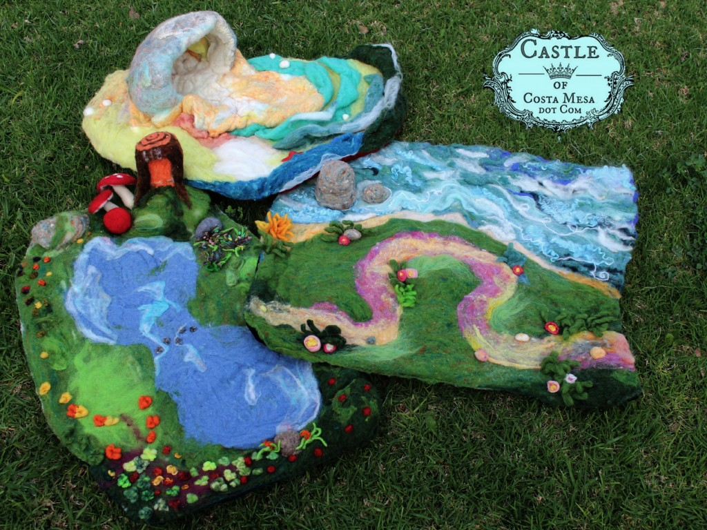 140302 Three natual wool felted playscapes the dragon's cave, the moat and the lily pond