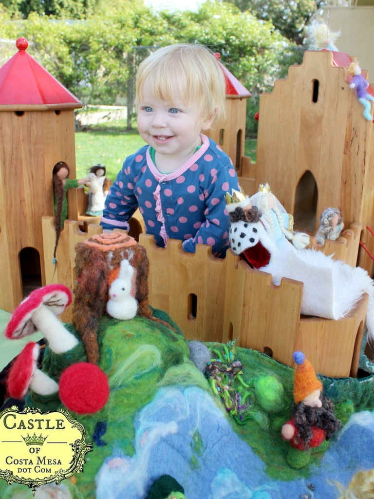 140303 Baby Helena showing size and scale of our Dream Castle Kiki playset