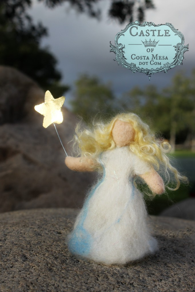 140303 Needle-felted Fairy Child with sparkly magic wand in Cloudy weather.