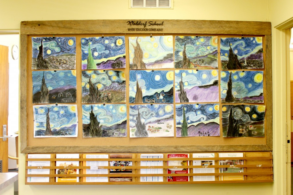 140306 6th Grader's Starry Night by Vincent Van Gogh reproduction drawing in Waldorf School of Orange County front office.