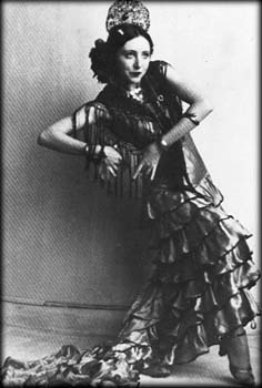 Vintage black and white photography Anais Nin as flamenco dancer