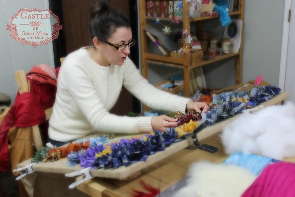 140211 Heather working on hooked rug