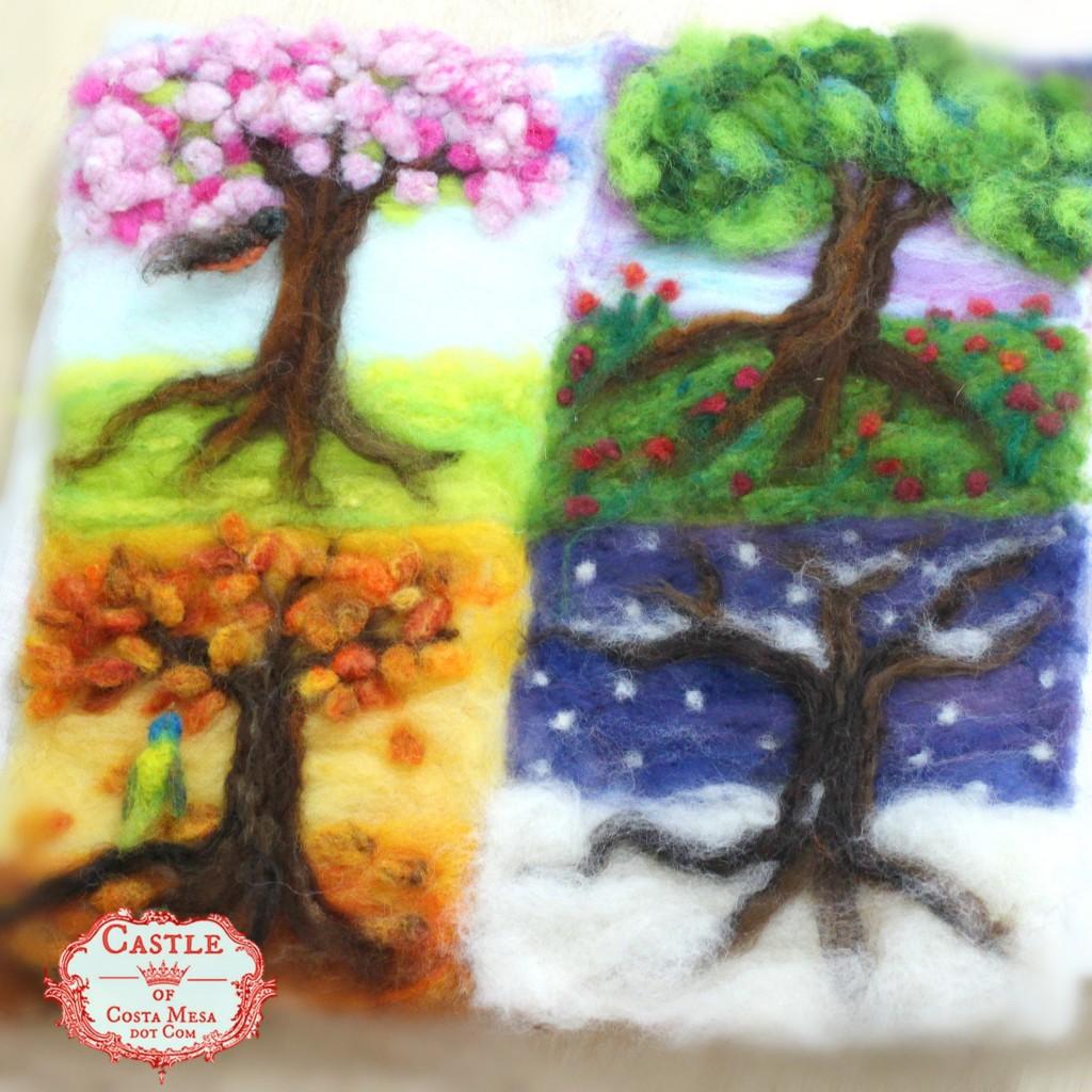 140211 Josephine's needle-felted 4 seasons tree pictures.