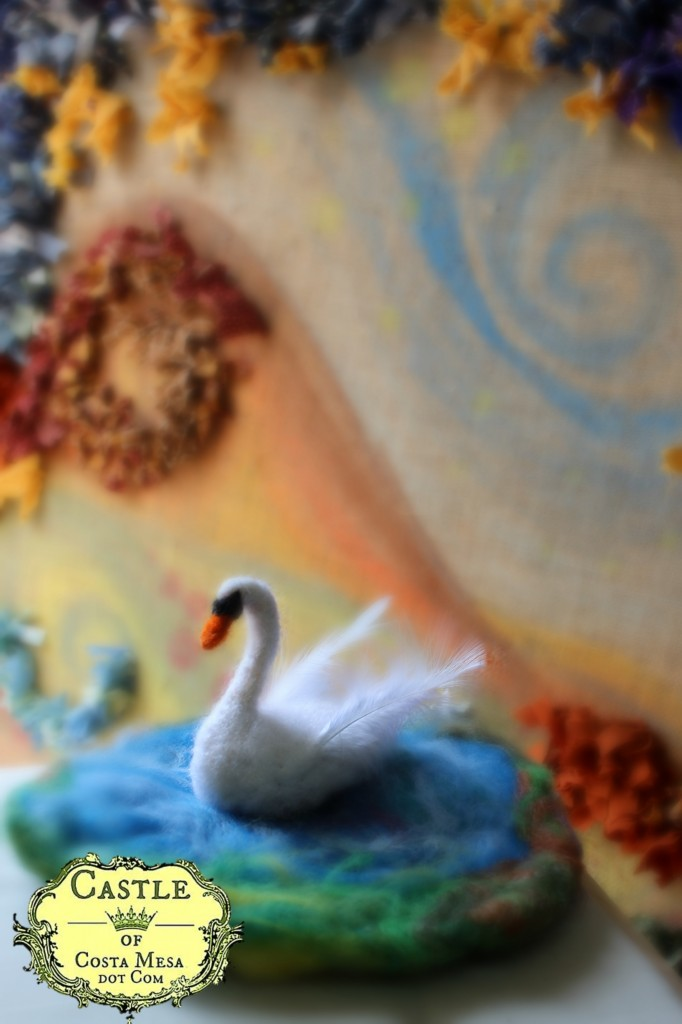 140211 Josephine's needle-felted swan in lake