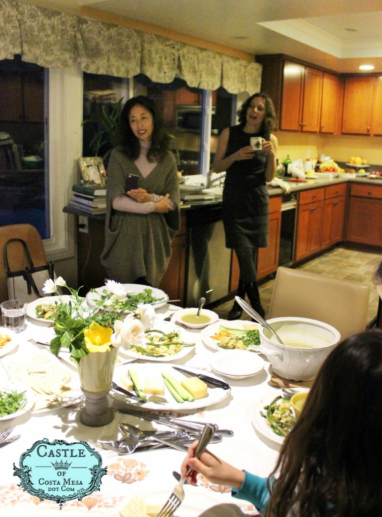 140301 Yuko and Alena watching the children enjoy their gourmet dinner prepared by Alena