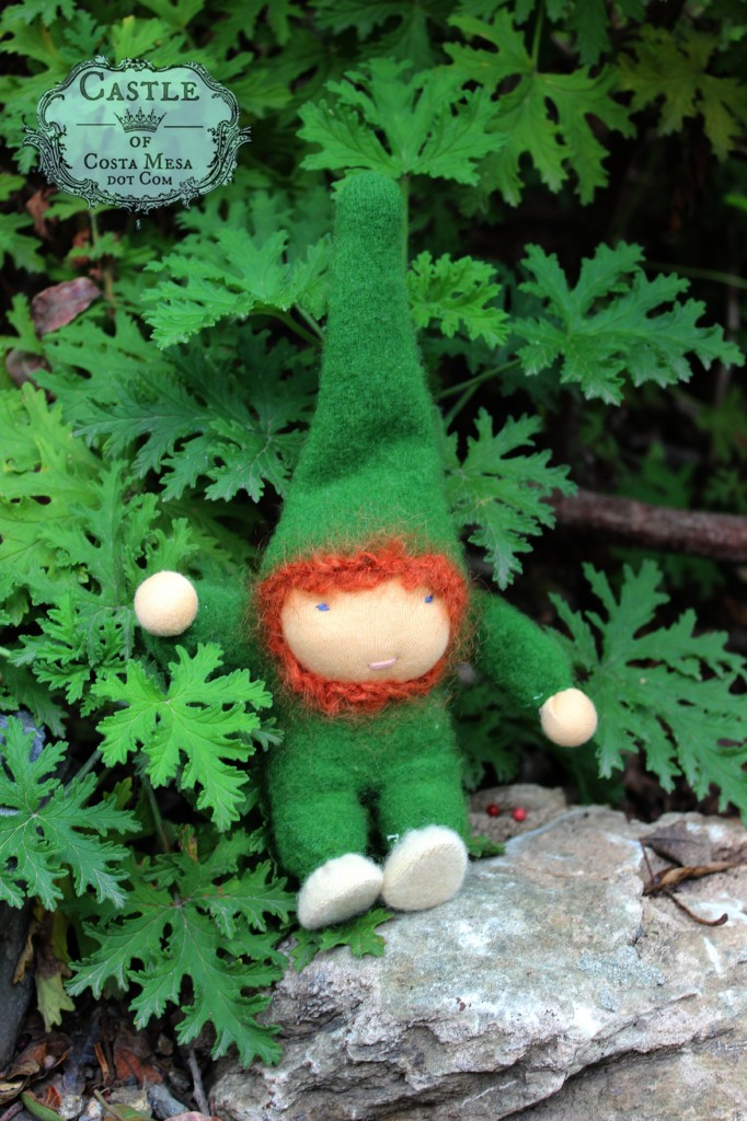 140304 Joanne's sewn ore gnome in green wool cashmere recycled sweater
