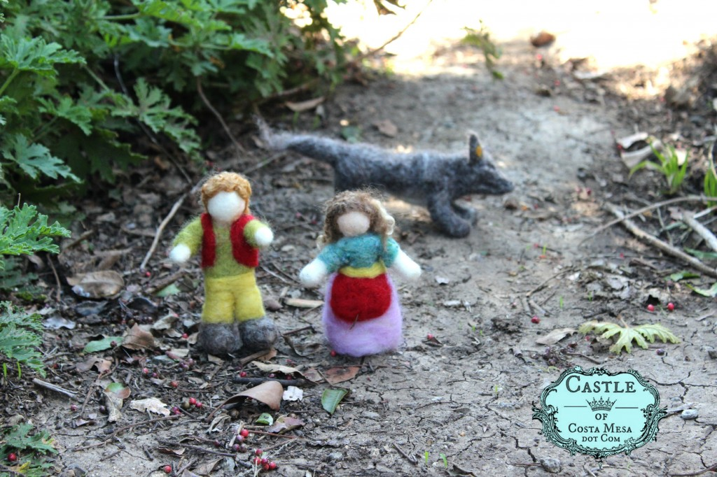 140310 2nd Grader Sarah's handmade Hansel and Gretel dolls with wolf in forest