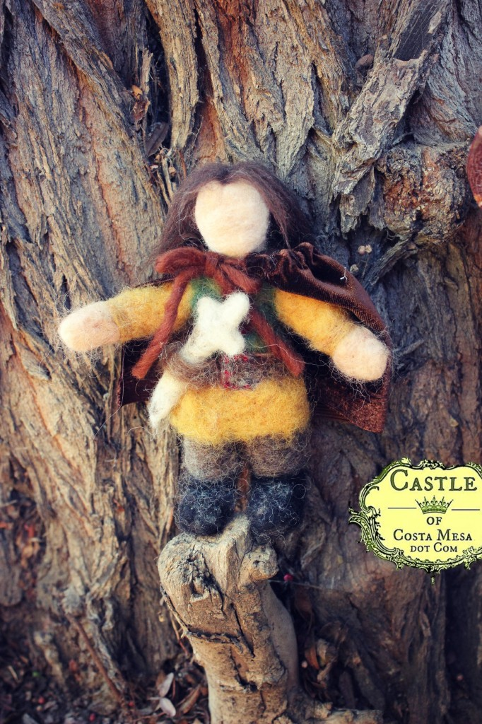 140310 6th Grader Hannah's needle-felted Hobbit prince with removable cape
