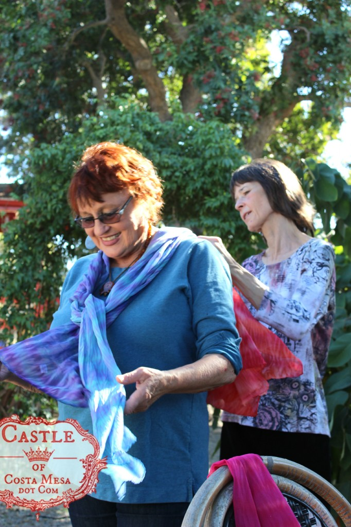 140114 Gisela and Jenine with newly handmade silk chiffon shibori scarves