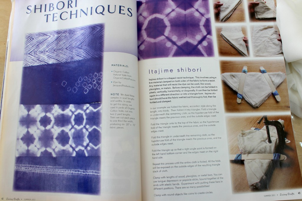 140114 Pages 42, 43. Summer 2012 issue of Living Crafts Magazine. Waldorf natural eco fashions and crafts. The Art of Shibori, hand sewing projects for kids