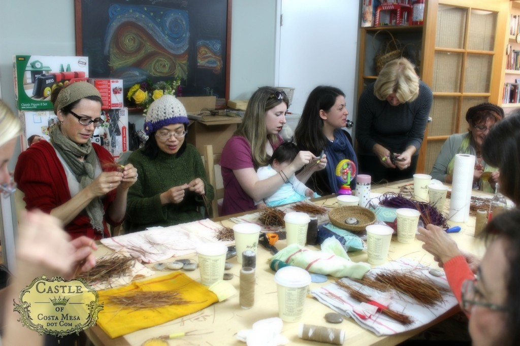 140304 roomful of crafters making pine needle baskets in the back room of the Company of Angels