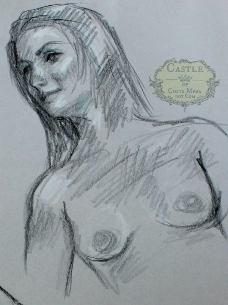 140206 Jana in graphite sketch detail of face and chest