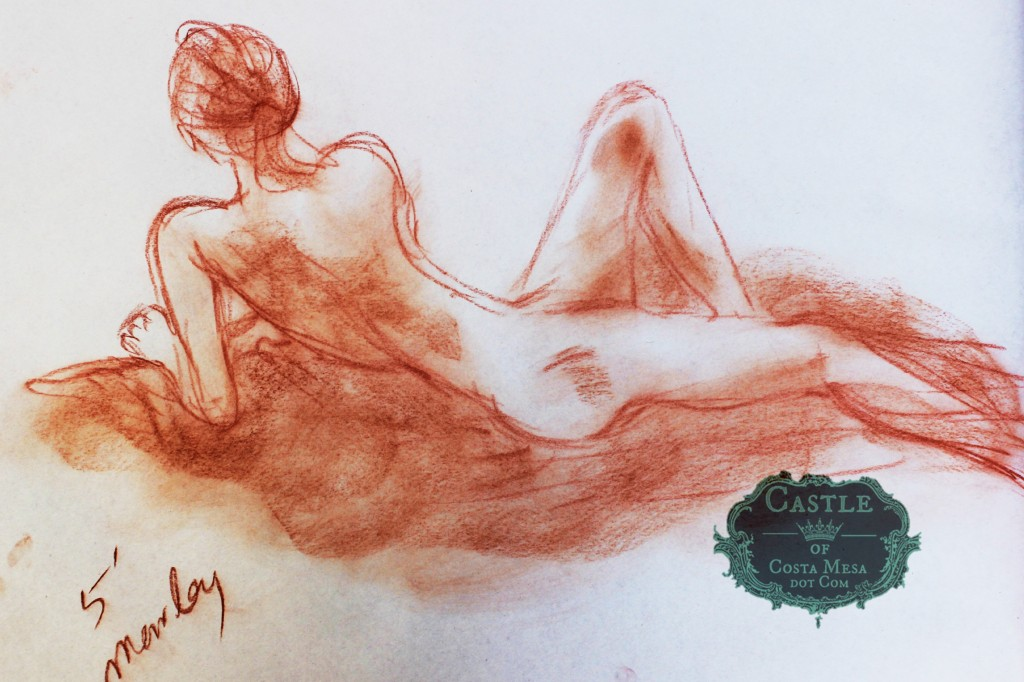 140213 Marley reclining 5 minute pose in charcoal sanguine