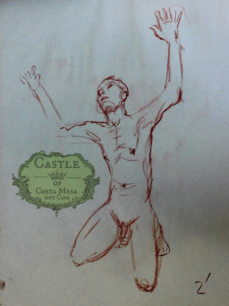 140220 Paul the artist's model marathon runner  2 minute sanguine sketch supplicant