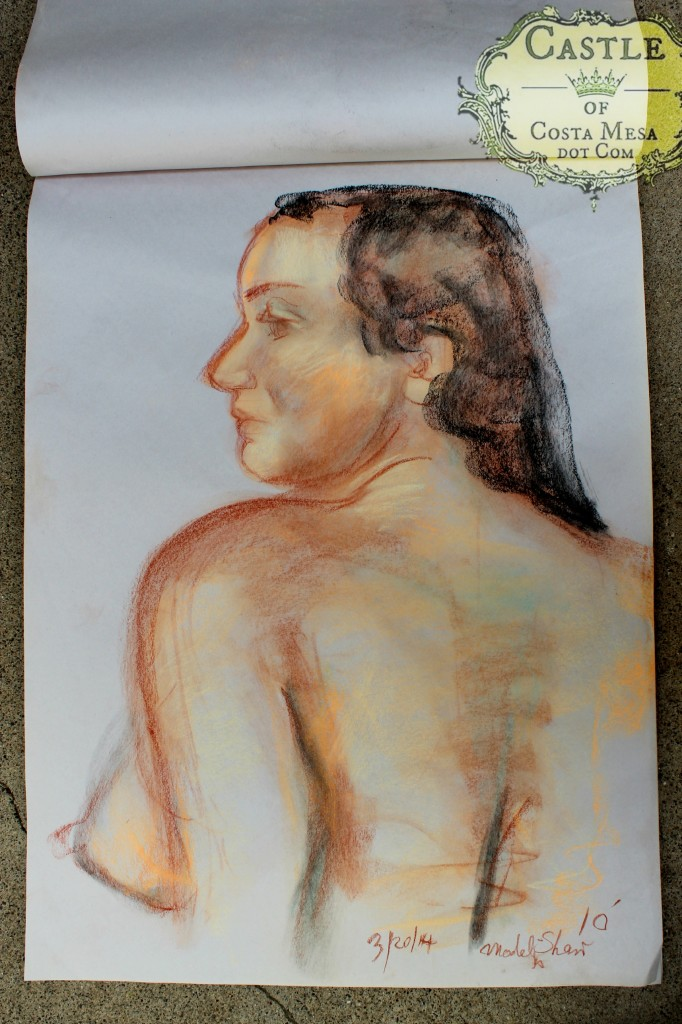 140320 Sherry the odalisque side view upper torso colored charcoal