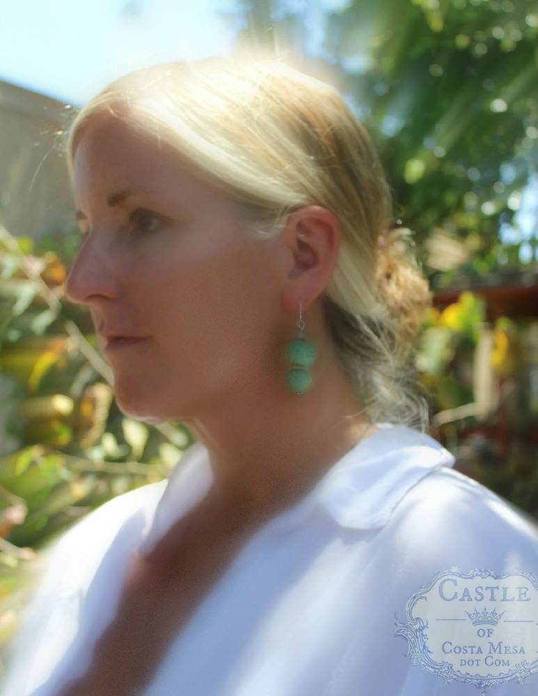 140513 Kathy modeling her handmade felt jade colored dangling earrings 2