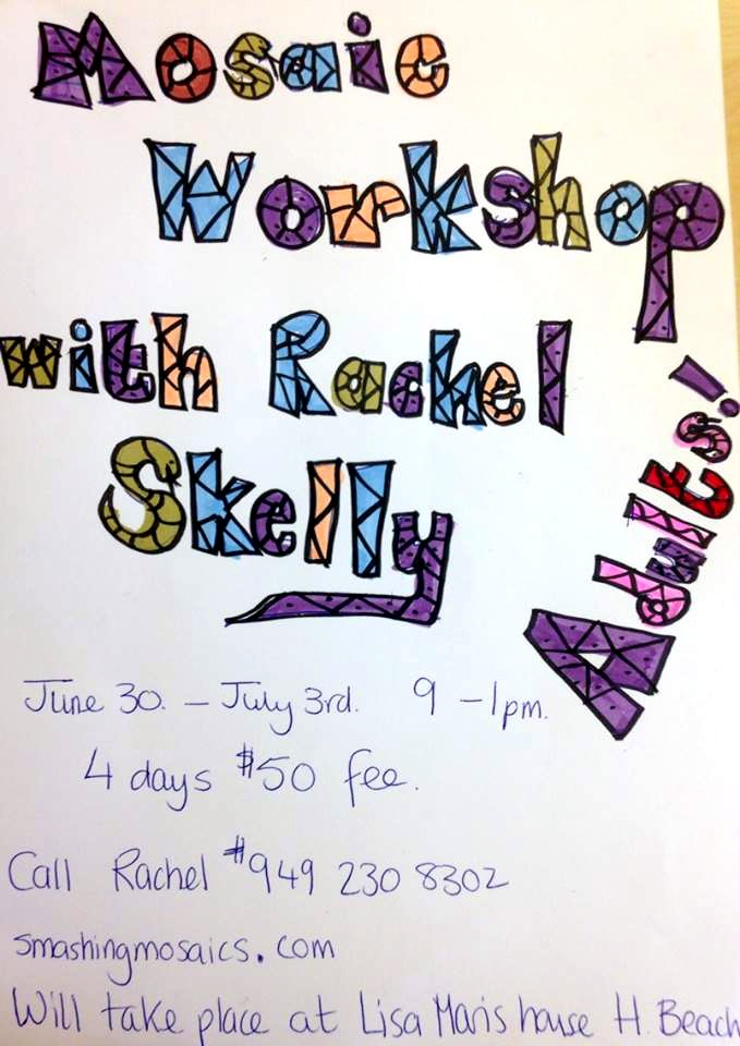 140604 Rachel Skelly mosaic workshop at Lisa's home in Huntington Beach