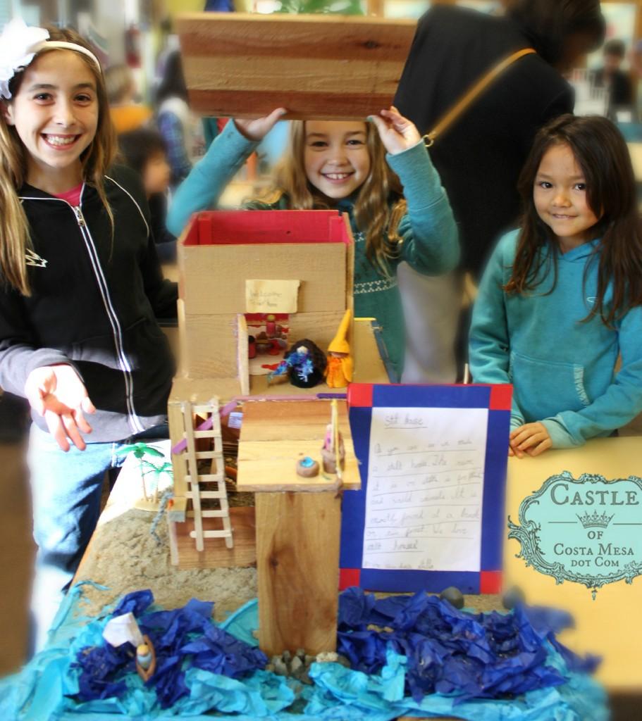140224 Isabella, Stella and Nunu with their handmade stilt house Third Grade housing project 2