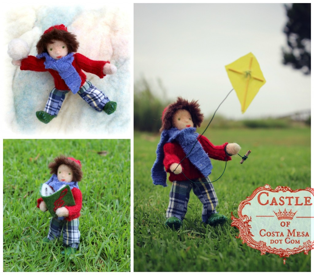 140905 Kite Boy / Birthday boy / Snow Ball Boy /Caroller etc. Fall and Winter Season Table Doll by Castle of Costa Mesa.