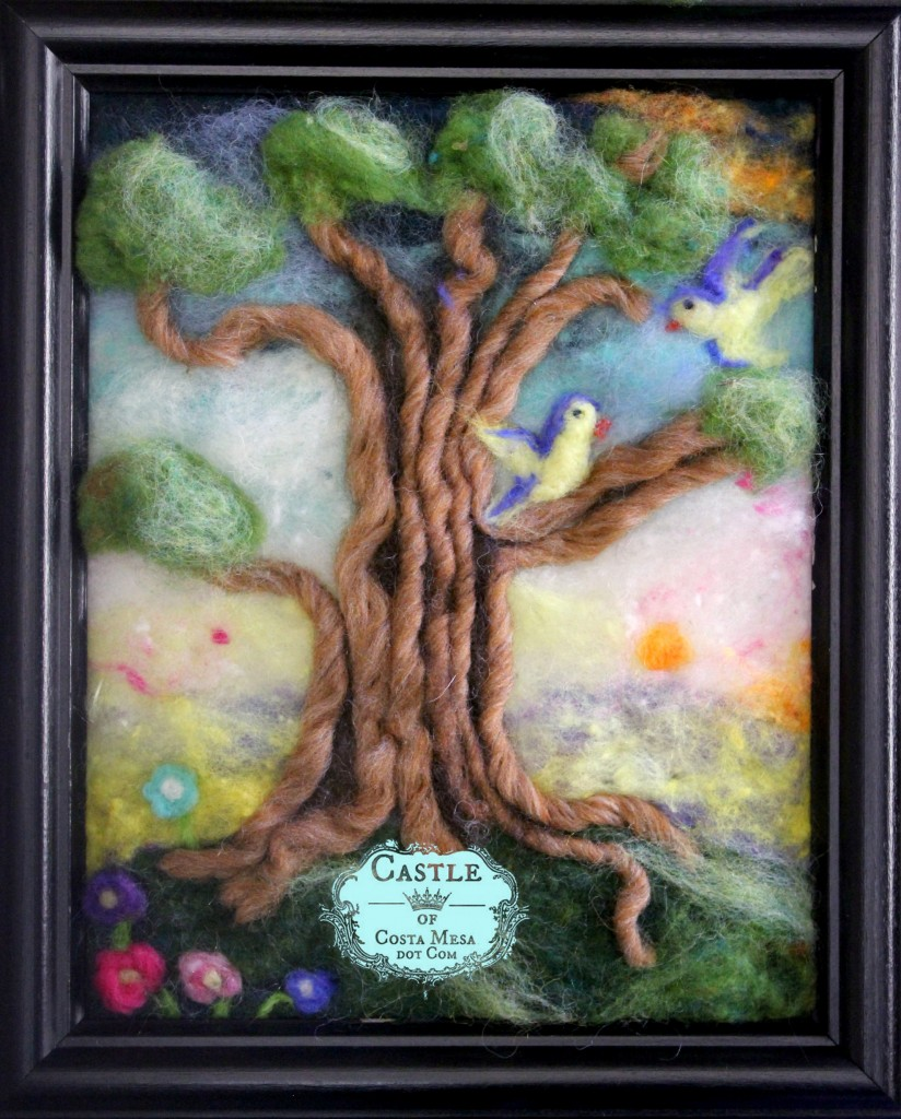 140914 Needle-felted 8x10 inches love birds on gnarly old tree at sunrise colorful wool picture for Lisa Maris Hair Salon.