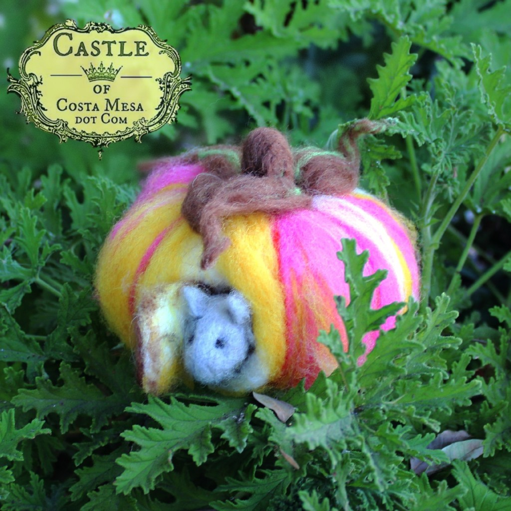 140915 Jack's needle-felted pink pumpkin with little grey mouse 2 square