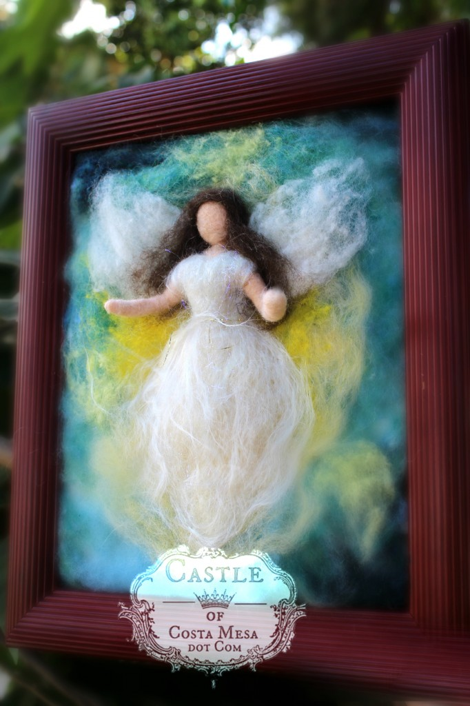 140919 Framed Needle-felted Castle of Costa Mesa Brunette Guardian Angel in Cherimoya tree.