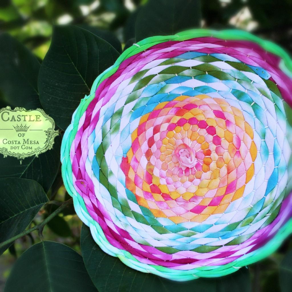 140922 Cathrine Ji woven T-shirt yarn place mat lotus colors donation Gala WSOC 2015 2