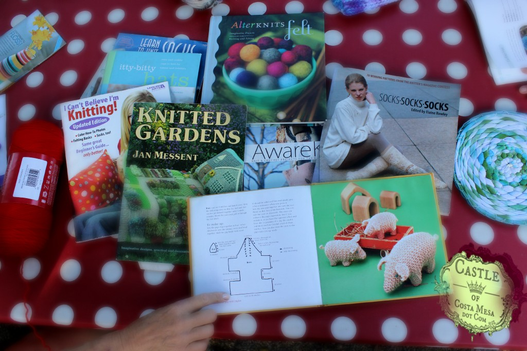 140929 Christine's library of knitting books showing pig knitted pattern 2