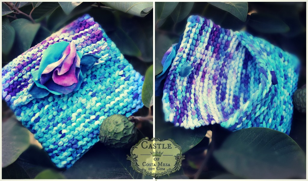 140930 Dyptich Melissa's handmade T-shirt yarn knitted blue rose handbag open and closed 2