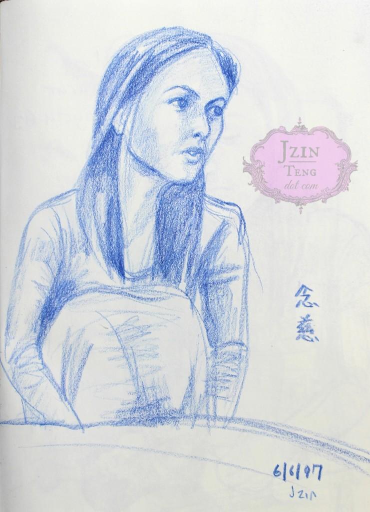 970606 Nienchtze mid sentence quick pencil sketch 2