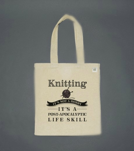 CastleofCostaMesa.Com Knitting - It's not a hobby, it's a post-apocalyptic life skill tote bag natural canvas.