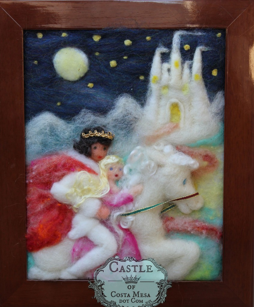 141005 The Wild Swans by Hans Christian Anderson Night Galloping on White Steed towards The Palace Needle-Felted wool picture by Castle of Costa Mesa