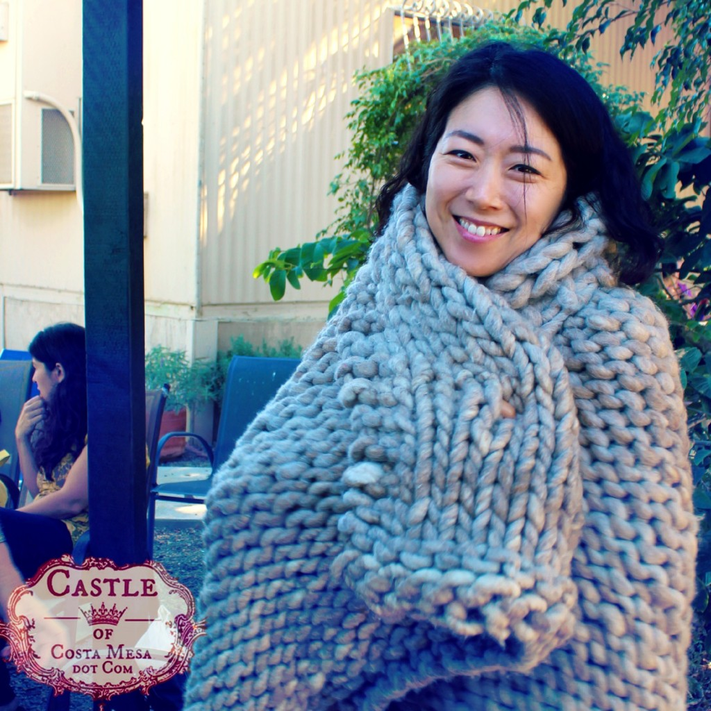 141007 Gloria wrapped in Christine's handmade Loopy Mango Yarn throw blanket 2