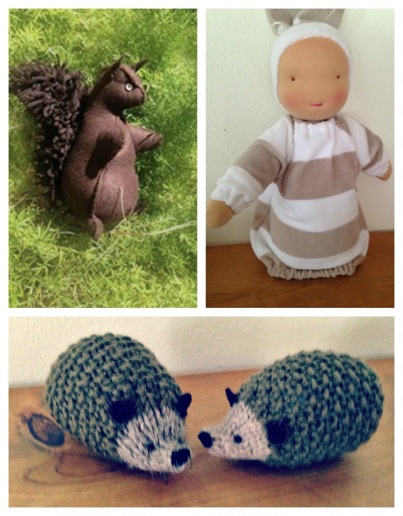 141008 Phyllis Gilmer felt squirrel heavy baby knitted hedgehogs Waldorf playgroup early childhood toys