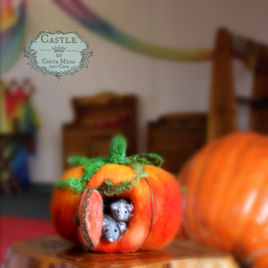 141027 Gloria's handmade fall needle-felting mice in a pumpkin home in Miss Jenell's mommy and me Waldorf classroom