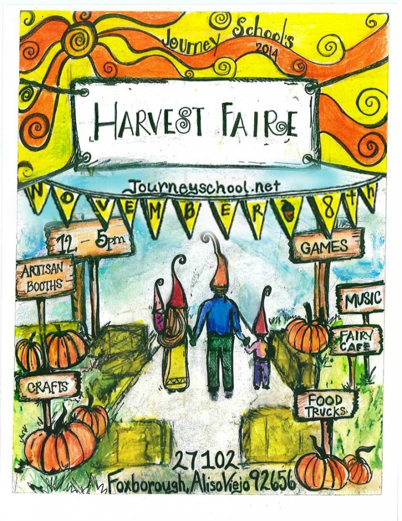 2014 Journey School Harvest Faire Flyer CastleofCostaMesa edited, date banner enlarged.