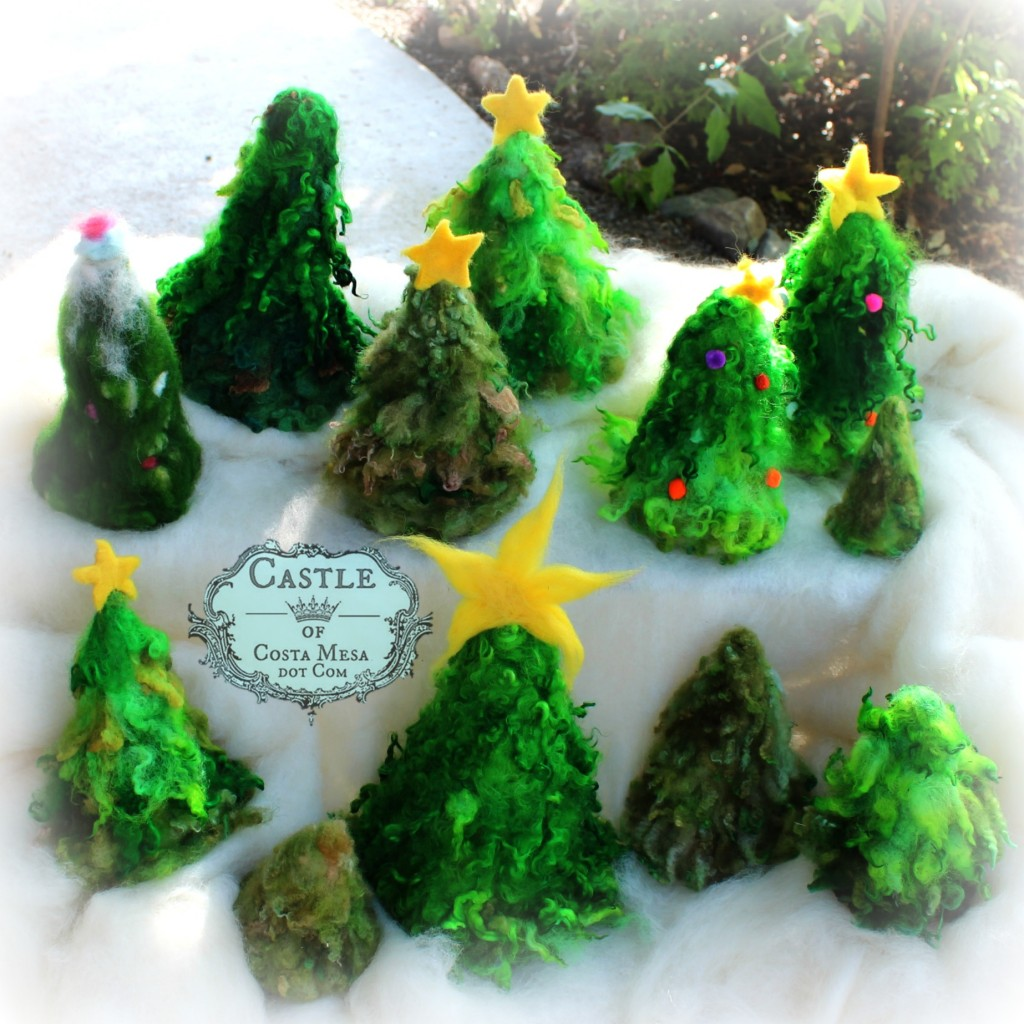 141110 Craft group group photo of needle-felted felt Christmas Tree project with Christine Newell.