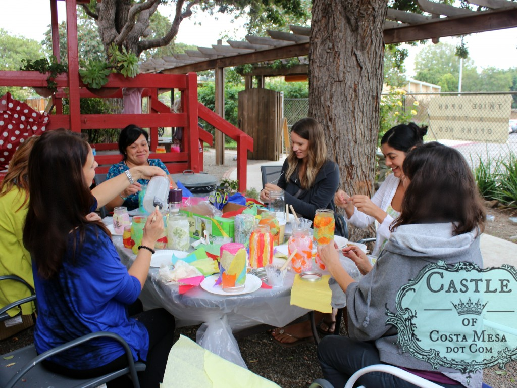 1411110 Mothers from Miss Catherine's Pre-kindergarten class volunteered to make mason jar lanterns